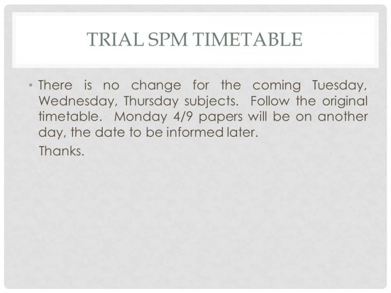 Trial SPM Timetable